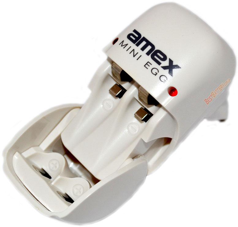 Amex Mini Egg - компактное зарядное устройство для АА и ААА аккумуляторов на 2 канала.
