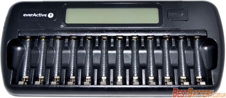 EverActive NC-1200 - многоканальное зарядное устройство на 12 аккумуляторов для АА и ААА.