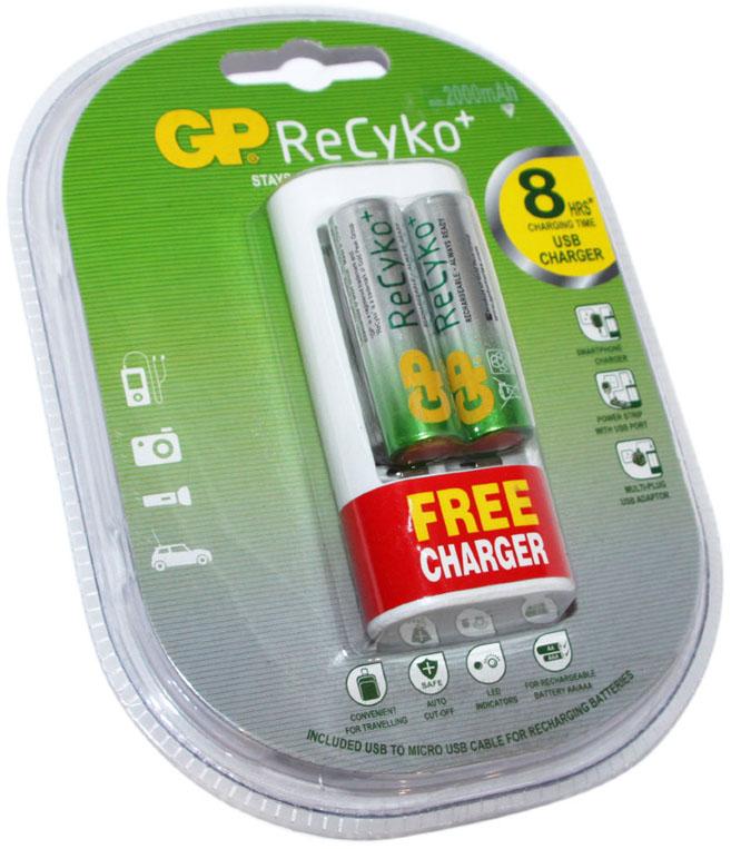 USB зарядное устройство GP U211 + 2 АА аккумулятора GP ReCyko 2000 mAh.