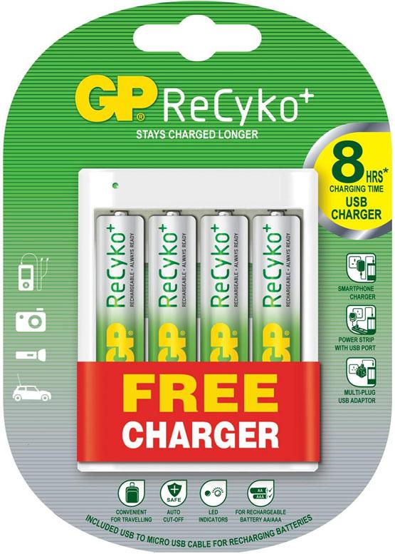 USB зарядное устройство GP U411 + 4 АА аккумулятора GP ReCyko 2000 mAh.