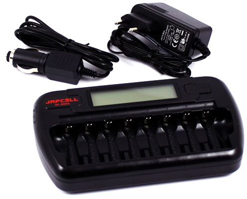Japcell BC-800 - зарядное устройство на 8 АА и ААА аккумуляторов + Автоадаптер.