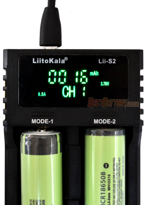 Liitokala Lii S2 отображение ёмкости аккумулятора на дисплее.