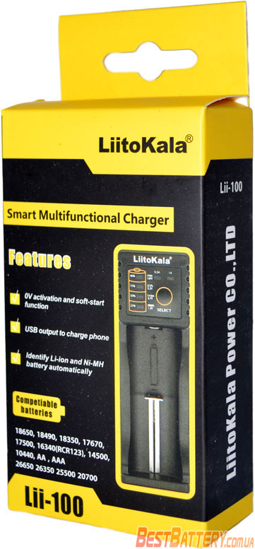 Зарядное устройство LiitoKala Lii 100 в коробке.