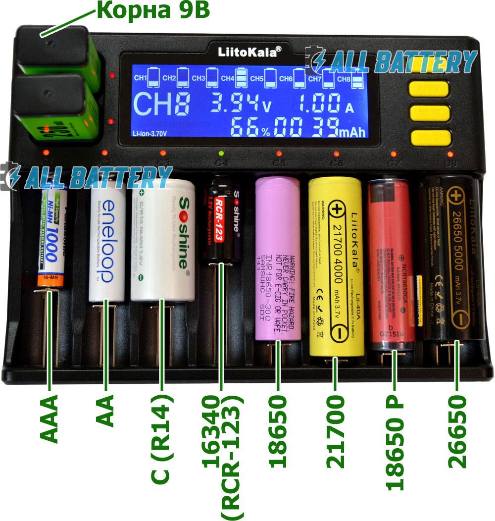 Зарядное устройство Liitokala Lii-S8 универсальное для разных типов аккумуляторов.