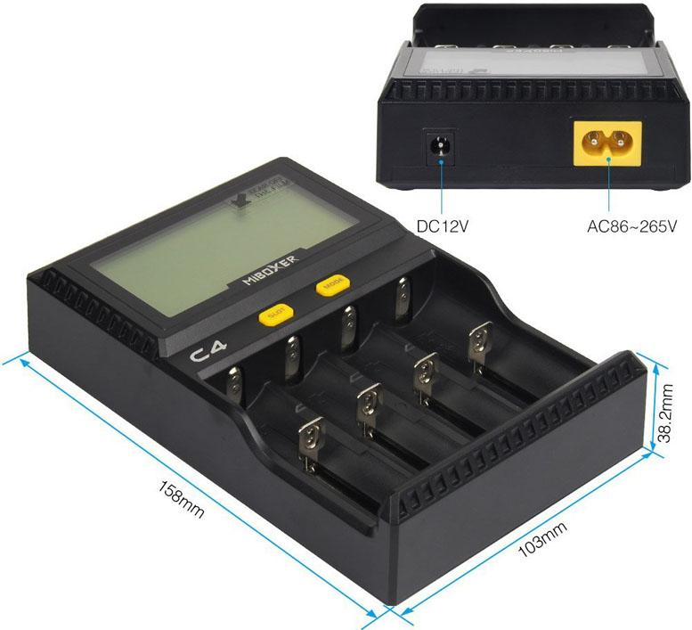 Габаритные размеры зарядного устройства Miboxer C4.