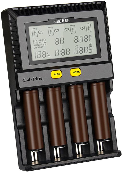 MiBoxer C4 PLUS - Быстрое универсальное зарядное устройство для Ni-Mh/Ni-Cd, Li-ion (IMR/ICR/INR) и LiFePO4.