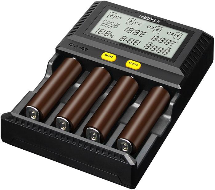 MiBoxer C4-12 Upgrade - БЫСТРОЕ зарядное устройство, ток 12A для Ni-Mh, Ni-Cd, Li-ion и LiFePO4 аккумуляторов.
