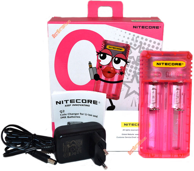 Комплект поставки Nitecore Q2 розового цвета (Pink).