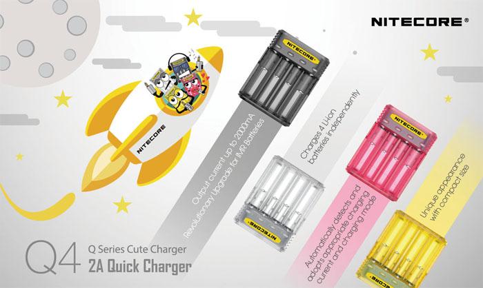 Зарядное устройство Nitecore Q4 доступные цвета.