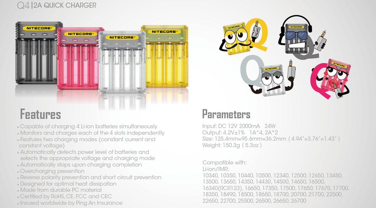 Зарядное устройство Nitecore Q4 характеристика.
