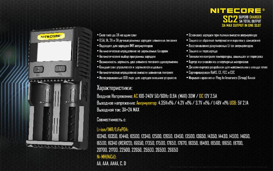 Технические характеристики Nitecore SC2.