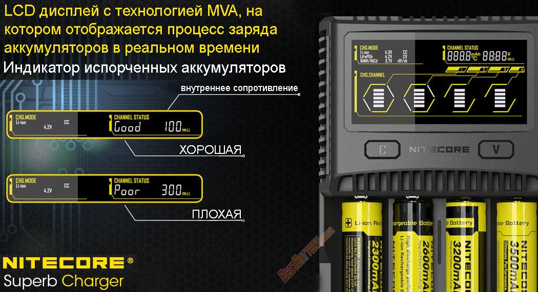 Зарядное устройство Nitecore SC4 определение неисправных АКБ.