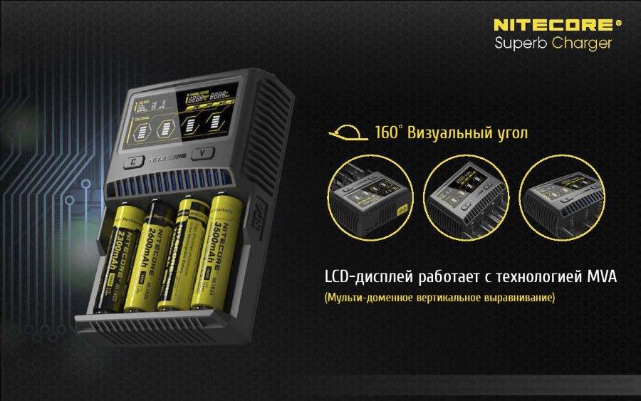 ЖК дисплей с технологией MVA в Nitecore SC4.