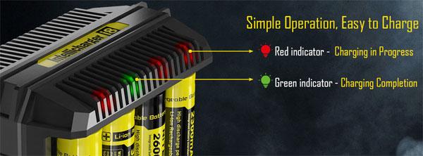 Зарядное устройство Nitecore i8 имеет 8 светодиодных индикаторов