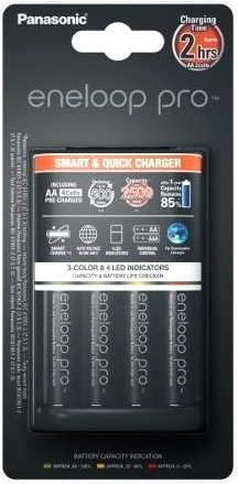 Panasonic Eneloop BQ-CC55 LED и 4 АА аккумулятора Panasonic Eneloop Pro 2600 mAh (min 2500) BK-3HCDE