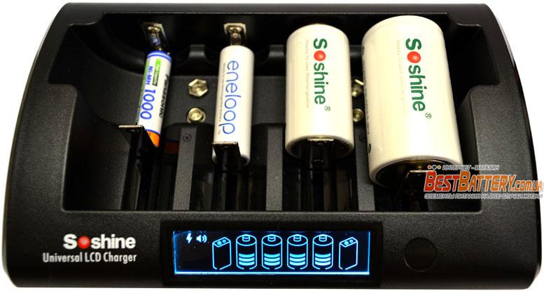 Зарядное устройство Soshine CD1 Pro для АА, ААА, C(R14), D(R20), Крон, 18650, 16340, 14500 и др.