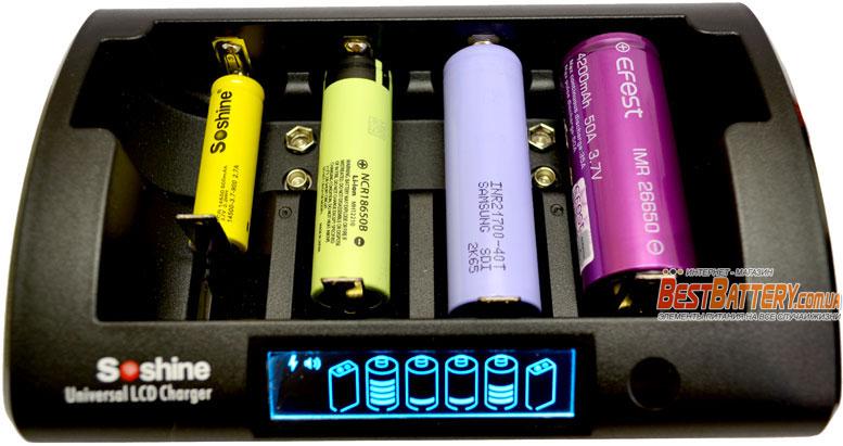 Совместимые аккумуляторы в зарядном устройстве Soshine CD1 Pro.
