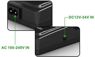 Tenergy TN 270 зарядное устройство с двумя разъемами для подключения питания.