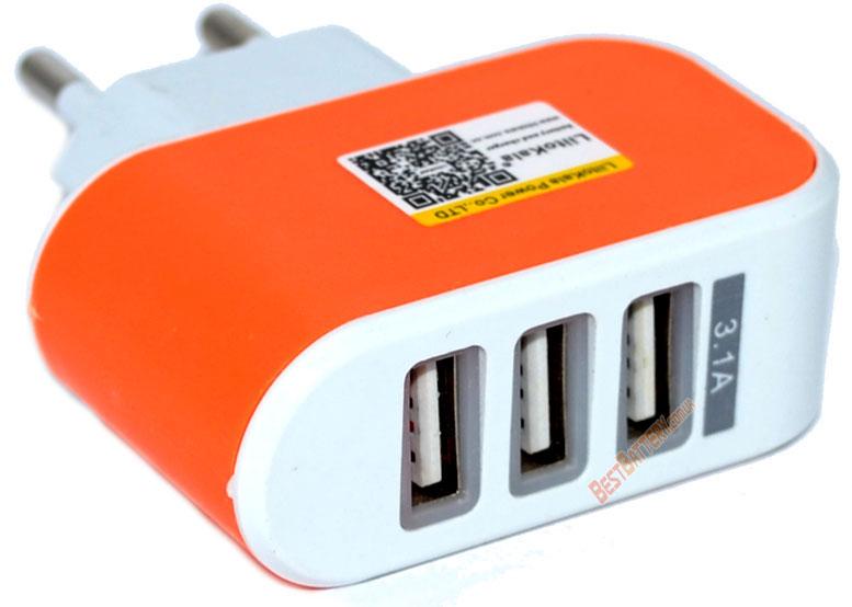 USB зарядное устройство LiitoKala Lii-U3 оранжевого цвета.