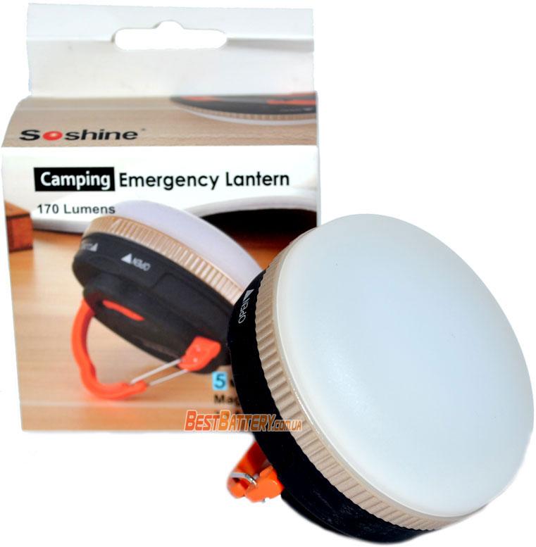 Soshine CB1 - кемпинговый светодиодный фонарь с питанем от 3-х ААА батреек/аккумуляторов.