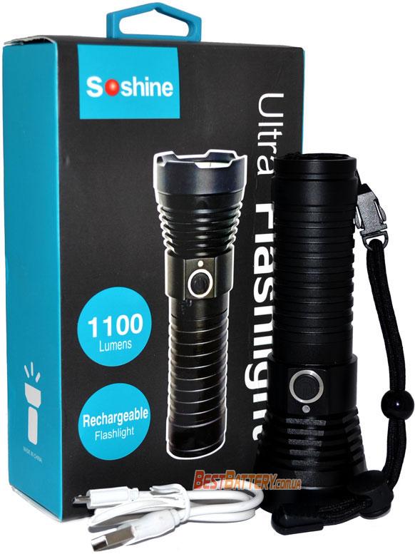 Комплект поставки карманного фонаря Soshine TC16 USB.