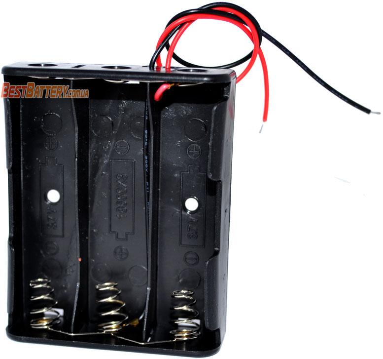 Держатель / холдер для аккумуляторов на параллельное соединение 3-х аккумуляторов формата 18650.