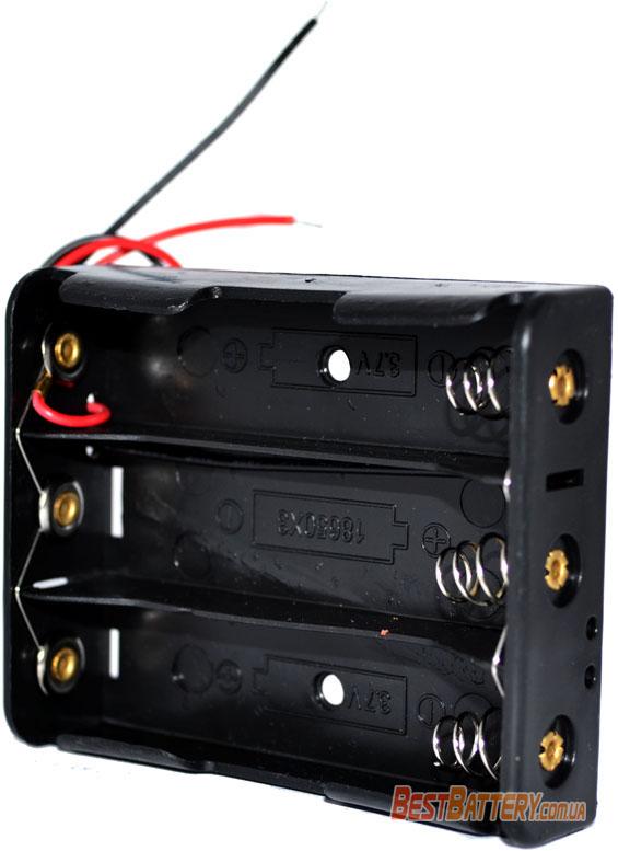 Держатель (холдер) с выводами на 3 аккумулятора 18650 параллельное соединение аккумуляторов (3.7V).