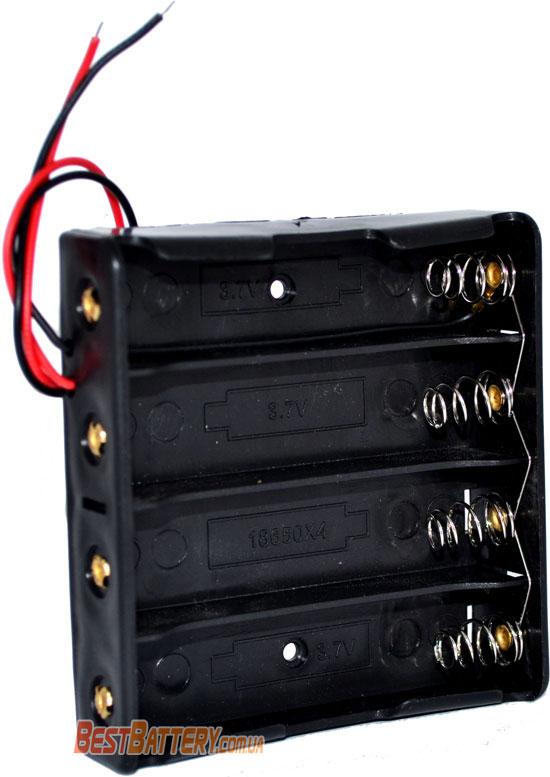 Бокс с контактами для параллельного соединения 4-х аккумуляторов формата 18650.