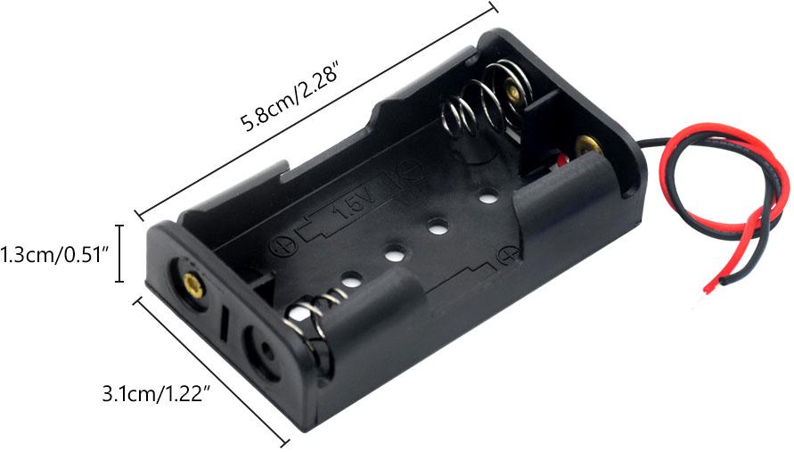 Держатель / холдер для аккумуляторов / батареек АА на 2 шт размеры.