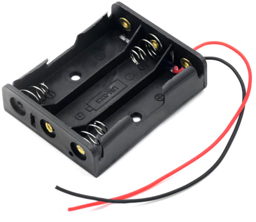 Держатель (холдер) с выводами на 3 аккумулятора / 3 батарейки АА (LR6, HR6) последовательное соединение.