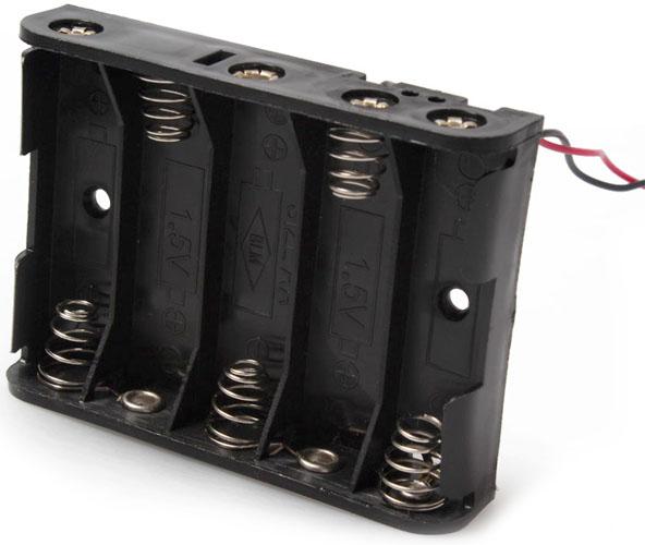 Держатель (холдер) с выводами на 5 аккумуляторов / 5 батареек АА (LR6, HR6) последовательное соединение (7.5В).