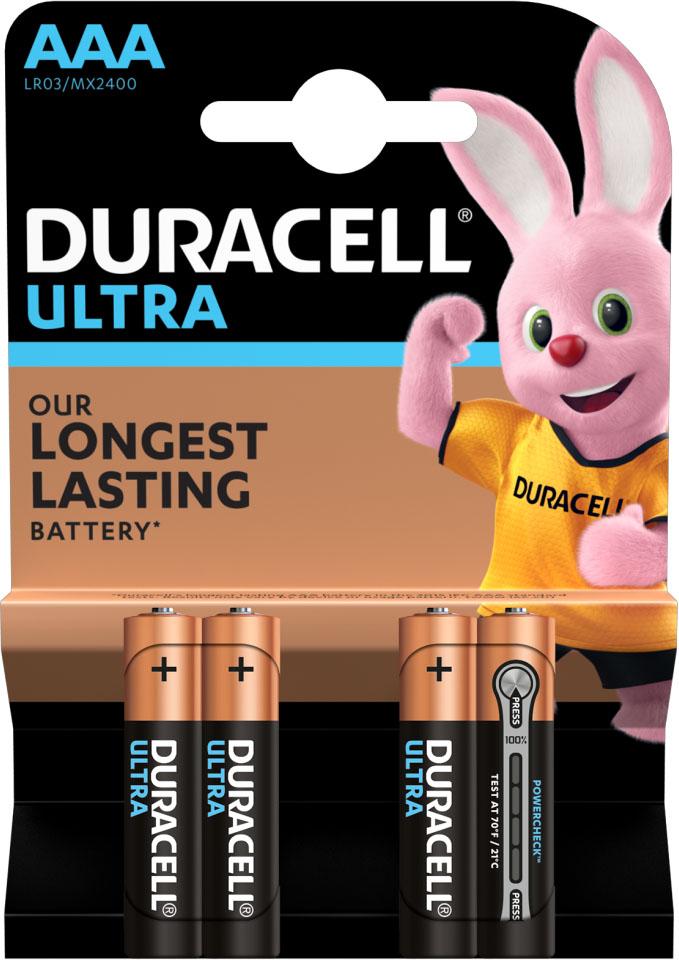 Duracell Ultra Alkaline AAA щелочные минипальчиковые батарейки (LR03), 1.5V.