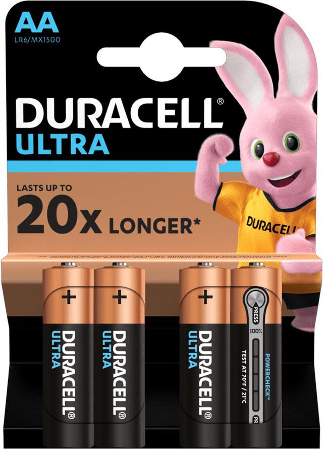 Duracell Ultra Alkaline AA щелочные пальчиковые батарейки (LR6), 1.5V.