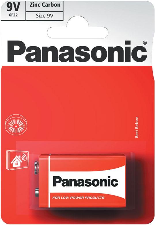 Солевая батарейка типа Крона на 9В Panasonic Red Zinc Carbon (6F22) в блистере.