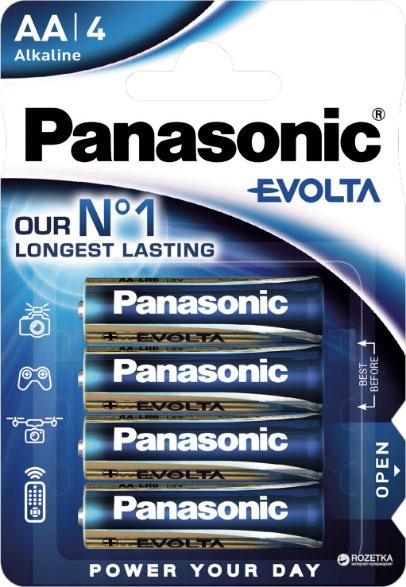 Щелочные пальчиковые батарейки Panasonic Evolta AA (LR6), 1.5В